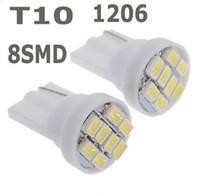 100pcs / lot T10 8SMD 8LED luce 1206/3020 SMD 8 SMD luminoso Auto ha condotto l'illuminazione dell'automobile LED / t10 194 168 192 W5W del cuneo LED lampada auto