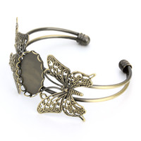 Bracelet Butterfly Tap Adjustable, * Brass, Mm Oval Bezel-set, Wholesale, 18 28 Tray, With Blank Ldtnv