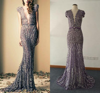 Real Images Bling Deep V Neck Mermaid Evening Gowns Beaded V...
