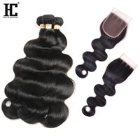 Brazillian Body Wave With Closure 4 Bundle Deals With Closur...