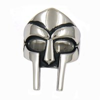 Fanssteel Acciaio inox Acciaio inox o donna Punk Vintage Tribal Man Mask Anello Signat Ring Regalo FSR11W95