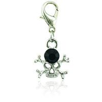 Charms de fermoir à mousqueton plaqué argent mode Dangle noir breloques de crâne percé pour accessoires de fabrication de bijoux bricolage