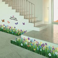 New Butterflies Grass Flower Removable Wall Stickers Decal K...