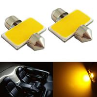 10 unids ámbar amarillo 31mm COB LED Festoon bombillas de alta potencia coche cúpula luz automática lámpara de iluminación