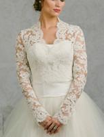 كامل الأكمام الزفاف جاكيتات بوليرو شبكة الرباط اكسسوارات الزفاف سترات لحفلة موسيقية فساتين الزفاف الخامس الرقبة سترة بوليرو