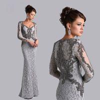 2020 Argent manches longues sirène mère de la mariée en dentelle robes de perles Arabie Arbia Party longue Robes de soirée grande taille Mère robe formelle