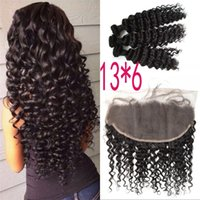 13x6 Indian Deep Wave Curly Lace Frontal Closure with 3 Bund...