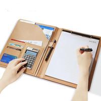 A4 Conference Folder Äkta läderfodral Portfölj arrangör med kalkylatorkort Ball Pen Dokument Wallet Custom Logo
