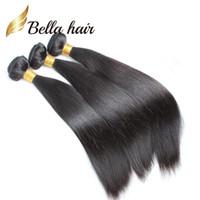 Bella Hair® 100% não transformado trama de cabelo malaio 9A cor natural sedosa extensões de cabelo humano de seda 4 pçs / lote pacotes de cabelo