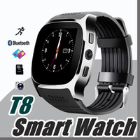 Per Android Nuovo T8 Bluetooth Smart Pedometro Orologi Supporto SIM Card TF con la fotocamera Sync Call Message Uomini Donne Smartwatch Watch W-BS