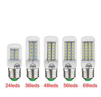 Bulb barato LED de milho Luz E27 LED Candelabro Candle 24 36 48 56 69 SMD 5730 5630 Com Tampa E26 GU10 E14 B22 G9 branco quente DHL transporte livre