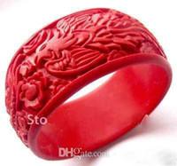 도매 중국 아시아 드래곤 Phenix 레드 조각 옻칠 팔찌