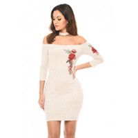 Nadafair Three Quarter Sleeve Embroidery Floral Slash Neck H...