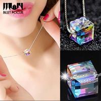 Кристаллы ожерелье подвески серебряная цепь ожерелья Для женщин заявление ожерелье свадьба шикарный подарок ювелирные изделия 10 шт. / лот