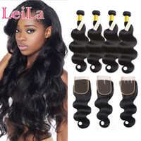 Indian 4 Bundles With 4x4 Lace Closure Body Wave Unprocessed...