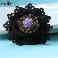 Gros-fait à la main gothique bijoux fleur rose conception originale broche tissu antique boucle broche vintage femmes accessoires YBR-01