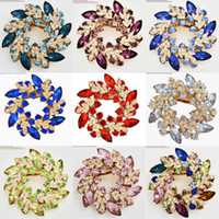 11 Styles Fashion Costume Broche Pin Luxurious Bling Crystal Bauhinia Fleur Foulard Bijoux Broche Brochure Floral Brodée B529S