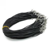 Collier réglable noir en caoutchouc sans cordon en caoutchouc collier de cordon 19 pouces avec fermoir à mousqueton et prolongateur 2 pouces ZYN0012