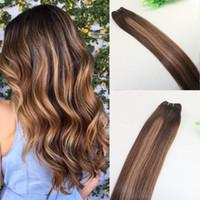 Cheveux Humains Tissage Ombre Colorant Brésilien Vierge Cheveux Trame Bundle Extensions Deux Tons 4 # Brun À # 27 Blonde