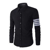 Vente en gros- Chemises habillées pour hommes Slim Fit Black Business Chemise sociale 2 couleurs pleine longueur Turn Down Collar Stripes Pattern Undershirt 2016