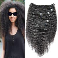 YUNTIAN Kinky curly clip in extensões de cabelo para o cabelo preto 8 pcs natural preto 100g extensões de cabelo brasileiro