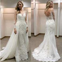 Elegante Hülle Brautkleider mit abnehmbaren Zug Illusionen mit langen Ärmeln Brautkleider Spitze Applikationen über Rock Braut Brautkleider