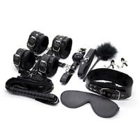 Оптовая секс бондаж комплект раб сдержанность БДСМ игры секс игрушки наручники воротник глаз Маска кнут мяч кляп зажим для сосков зажимы 10 шт. / Лот
