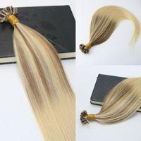 100strands 100G / Установка Предварительно-сквященные REMY Удлинитель для волос Человека Кератин Ногтей U Совет Удлинитель для волос Балаядж Омбре Волосы Браун Блондинка