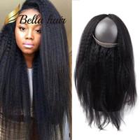 360 кружева лобное закрытие бразильское перуанское индийское малазийское kinky прямые человеческие волосы 360 закрытие продаж Беллахаир натуральный цвет девственницы
