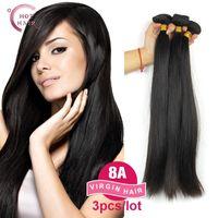 Wholesale-8A 인도 버진 헤어 스트레이트 3pcs 100 % 인간의 머리 처리되지 않은 원시 인도 레미 헤어 인도 스트레이트 버진 인간의 머리카락 직물