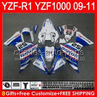 8gifts Body Pour YAMAHA YZFR1 09 10 11 YZF-R1 09-11 95NO30 bleu brillant YZF 1000 YZF R 1 YZF1000 YZF R1 2009 2010 2011 Carénage bleu blanc