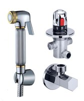 "Neue Douche Muslim Shataff Bidet Duschkopf Spray Messing + G1 / 2 ""Thermostatventil Set Chrom-Finish"