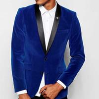 Royal Blue Velvet Wedding Groomsmen Tuxedos 2018 Black Shawl Lapel Slim Fit Customized Business Evening Party Trajes de hombre (chaqueta + pantalón)