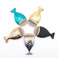 새로운 Desgin 패션 뜨거운 다채로운 인어 물고기 꼬리 모양 파우더 블러쉬 파운데이션 타원형 메이크업 브러시 메이크업 도구