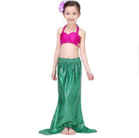 Mermaid Costume Girls Swimsuit Shell Three- piece Suit Kids B...