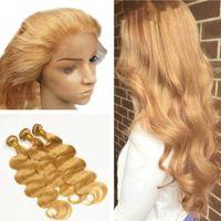 Ny ankomst honung blondin # 27 360 spetsband frontal 22.5 * 4 * 2 med kroppsvåg Virgin mänskligt hår buntar 4st / mycket med baby hår