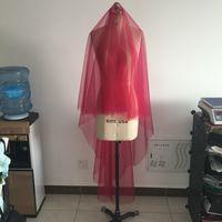 Cereja Véu De Noiva Vermelho Com Pente Blusher Véus De Noiva Cores Feitas Sob Encomenda Véus Para Noivas Acessórios De Noiva 80 cm Blush 170 cm Traseiro