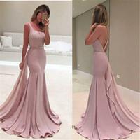 2019 New Fashion Rose Robes De Bal Dos Nu Longues Robes De Festa En Mousseline De Soie Perlée Une Épaule Robes De Soirée De Sirène