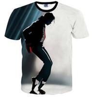Europa y América Nueva camiseta de Hip Hop hombres de manga corta 3d camiseta divertida impresión Michael Jackson camiseta de verano delgada tops
