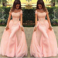 2019 Hot Selling Blush Pink Long Prom Dresses Lace And Chiff...