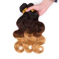 Drei Ton Ombre Menschenhaar Tressen 1b 4 27 Honey Blonde Körper-Wellen-Haar-Verlängerungen peruanische Jungfrau-Haar-Bundles 3pcs / lot