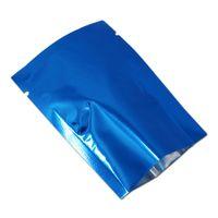 """Perakende Mavi 9 * 13 cm 3.54 """"x5.11"""" 100 Adet / grup Isı Mühür Için Alüminyum Folyo Çanta Tozu Aperatif Paketi Açık Üst Mylar Vakum Olay Çantası"""