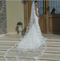 2017 Marfim Branco Uma Camada de Véu De Noiva Custom Made Catedral Velo Véu de Noiva Borda de Renda Com Pente