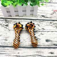 4 Inches Cute Glass Pipes with Black and yellow and orange S...