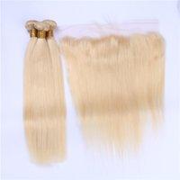 Cheveux blonds 3Bundles de cheveux blonds vierges brésiliens avec la fermeture frontale Courbes dentelles purs de la couleur 613 13x4 tout droit avec des trames de cheveux humains