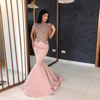 Charming Mermaid Celebrity Gowns Prom High Neck Appliques Se...