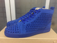[with box] Luxury brand Spikes Sneaker Shoes Mens Womens Red...