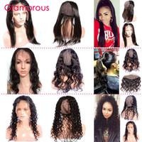 Glamorous frontale 360 pizzo con Cap brasiliana dei capelli 360 Chiusura corpo onda diritta dei capelli umani frontale 22x4x3