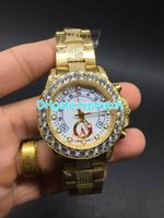Huge diamonds bezel automatic hiphop rapper wristwatch iced ...
