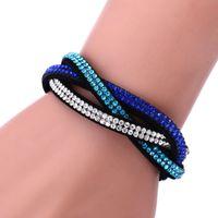 Braccialetti di cuoio di Slake dei braccialetti dell'involucro di modo con i cristalli Braccialetti di cuoio a più strati di tessitura dei cristalli 8 colori